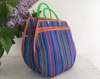 L tote bag - striped blue/Orange