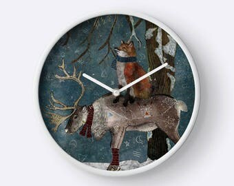 Winter Tale - Fox and Reindeer Clock- Woodland Clock- Fox Wall Clock- Forest Animals- Nursery Clock- Kids Clock, Whimsical Illustration