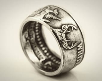 Whitetail Deer Coin Ring Made from 1 oz .999 Fine Silver Coin/Round American Wild Life Series Free Shipping and On Sale!