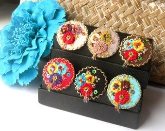 EMBROIDERED JEWELRY - Blue ring flowers Ukraine ethnic bohemian romantic fabric ' DarinAH! '