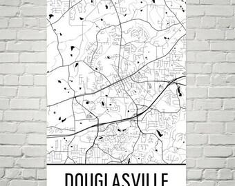 Douglasville Map, Douglasville Art, Douglasville Print, Douglasville Georgia Poster, Douglasville Wall Art, Gifts, Map of Georgia, Decor