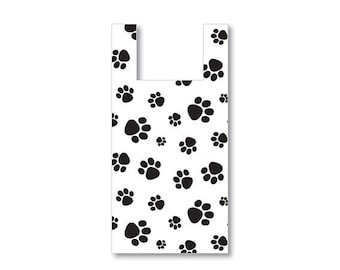 100 sm Plastic Bags, T Shirt, Gift Bags, Merchandise, Crafts, Party Favors, Showers, Plastic Bag, Paw Print, Pet Gifts,
