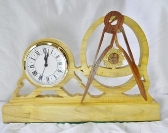 Handcrafted Past Master Masonic Mantle Clock