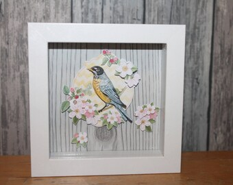Blue Bird - decorative embossed frame