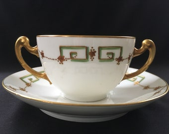 Blakeman and Henderson B & H Limoges France Two Handles Bouillon Soup Tea Cup and Saucer Set