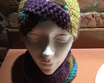 Hand knitted headband and Snood.