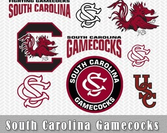 South Carolina Gamecocks Layered SVG Dxf PNG Vector Files Silhouette Cameo Cricut Design ScanNcut Canvas Transfer Tshirt Stencil Vinyl Decal