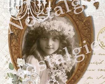 Nostalgic digitaal Picture Flower Girl