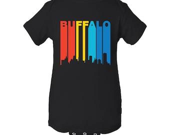 Retro 1970's Style Buffalo New York Cityscape Downtown Skyline Baby Bodysuit