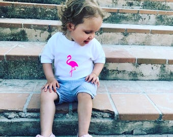 childrens tshirt, flamingo tshirt, kids tshirt, neon tshirt