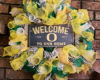 College Wreath, Oregon Ducks Wreath, Deco Mesh Wreath,Mesh Wreath, College Decor,Oregon Ducks Decor, Oregon Ducks, University of Oregon,UofO