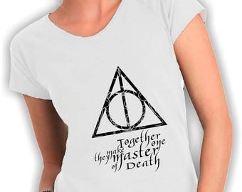 Women's V neck t shirt harry potter the Deathly Hallows