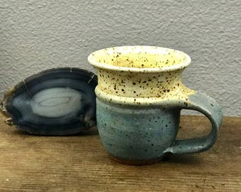 Vintage Stoneware Mug - Blue and Cream Speckle - Boho
