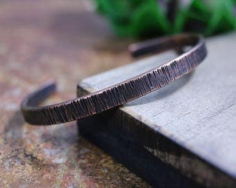 Men's Hammered Copper Cuff Bracelet