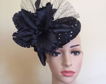 Black Pillbox Hat,Black Hat,Wedding Hat Black,Black Pillbox,Black Fascinator,Pillbox Hat Black,Ascot Race Hat,Black Ascot Hat,Black Hat