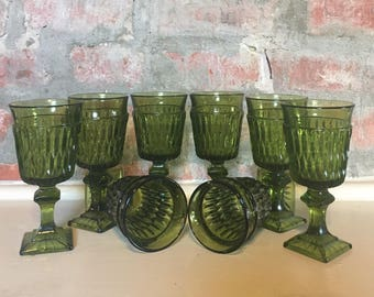 8 Green Indiana Glass Mt Vernon Pattern Cordial Glasses // Set of 8 // 1970's