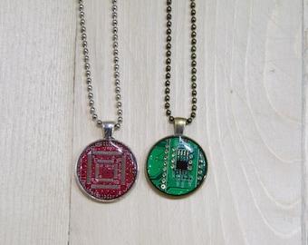 Circuit Board Geekery Necklace Computer Geek Gift Techie Necklace Real Circuit Board Necklace Geometric Computer Steampunk Jewelry