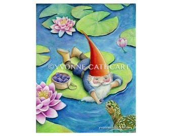 Gnome art print, garden gnome, whimsical art, fantasy print, kids wall prints, nursery room art, woodland gnome, Waldorf art, water lilies