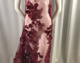 Bridal Fabric - Burgundy Lace 3D Flower-Floral Embroidered Mesh Beaded By The Yard