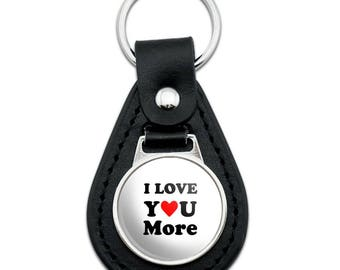I Love You More with Heart Black Leather Keychain