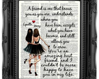 Personalized Best Friend Gift for Best Friend Brunette best friends Friendship Quote Besties Gift Best Friend Birthday Gift Bestie 175