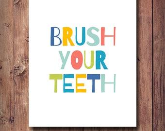 50% OFF Brush Your Teeth Print, Kids Bathroom Decor, Bathroom Print, Bathroom Art, Brush Your Teeth Nursery Bathroom, Printable Kids Gift