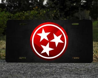 Tennessee Tri-Star License Plate Choose Red or Orange NEW