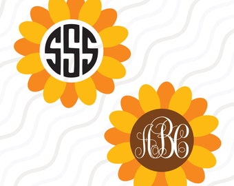 Sunflower SVG, Sunflower Monogram svg, Flower SVG Cut table Design,svg,dxf,png Use With Silhouette Studio & Cricut_Instant Download