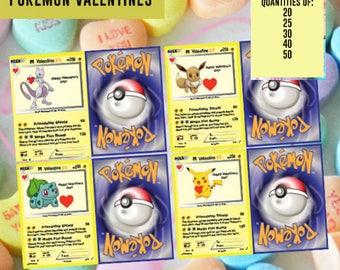 Pokemon Kids Valentine Card Valentine's Day Card Kid Valentine Kid Kid Valentine Class  Valentine's Day Card VALENTINE day kid Pikachu