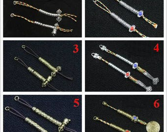 3 pairs-Tibetan silver mala counter,Multicoloured line small counter,ancient hand counter,108 bead necklace accessories Y0502