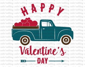 Valentines truck svg, truck with heart svg, Valentines day svg, old truck, vintage, pdf, dxf jpeg cutting files for Silhouette Cameo, Cricut