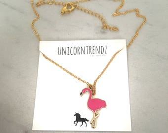Flamingo Necklace, Bird Necklace, Flamingo Jewelry, Flamingo Gift, Bird Choker, Vacation Necklace, Pink Bird Jewelry, Pink Bird Choker