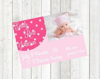 Baby Girl Pink Birth Announcement *DIGITAL DOWNLOAD*