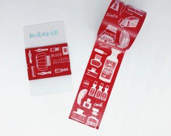 SAMPLE washi red tape Hoppy mini box INK