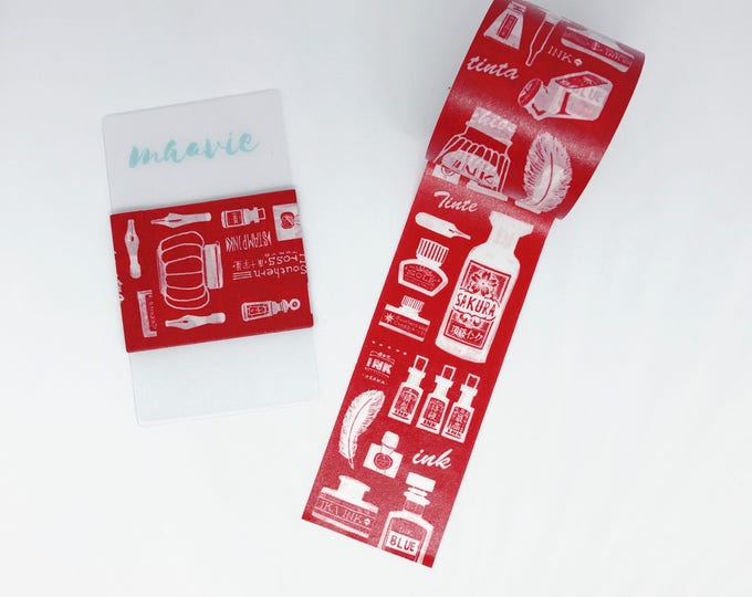 SAMPLE washi red tape Hoppy mini box INK