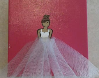 Ballerina on pink background, wall hanging