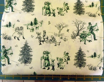 christmas toile fabric from Michael Muller white and green