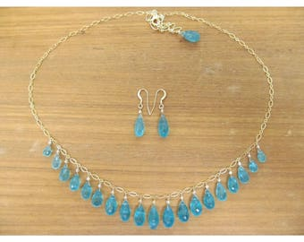 Genuine Natural large Aqua Blue Apatite faceted briolettes beads gold filled necklace and earrings set