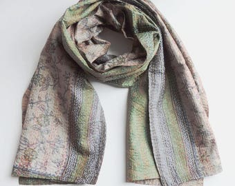 Upcycled, reversible, one-of-a-kind Kantha Sari Scarf - Green/Brown