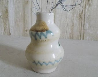 Mini ceramic vase Brown and Emerald
