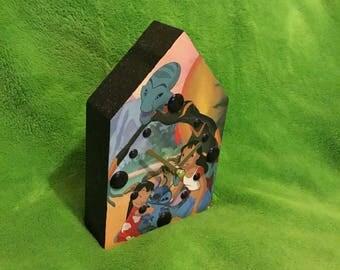Lilo and stitch inspired glitter clock