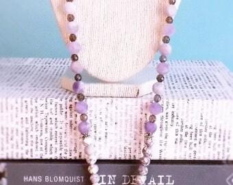 Viper Jasper with Lavender Amethyst and smokey quartz with Silver Cross Pendant