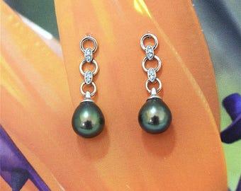 Black Pearl Earring, 14KT White Gold Black Pearl Post Earring W. Diamonds, E5556,  Made in Hawaii