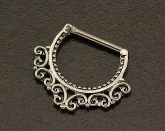 Tribal Nipple Bar. Silver Nipple Jewelry. 14GA Nipple Piercing. Indian Nipple Ring. Silver Nipple Shield. Nipple Barbel Body Jewelry.