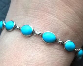 Vintage 925 sterling Silver Oval 9 x 7 mm Turquoise?Link 19 cm Bracelet