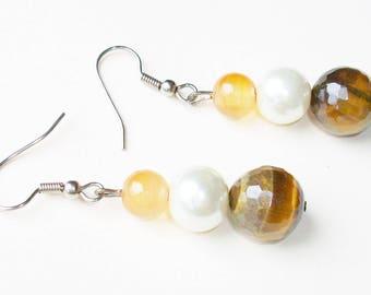 Quartz, Pearl and Tigers Eye Earrings - Stone Healing