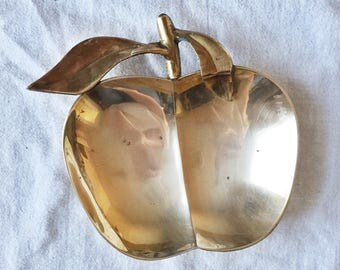 MOVING SALE // Vintage Solid Brass Apple Dish // Mid Century Catch-All
