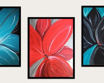 Set of 3 prints bright bold flowers turquoise, teal, red, black