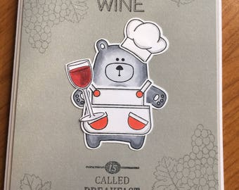 Funny Meal without Wine Bear