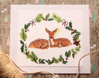 Postcard-Christmas leaf deer/Christmas card deers